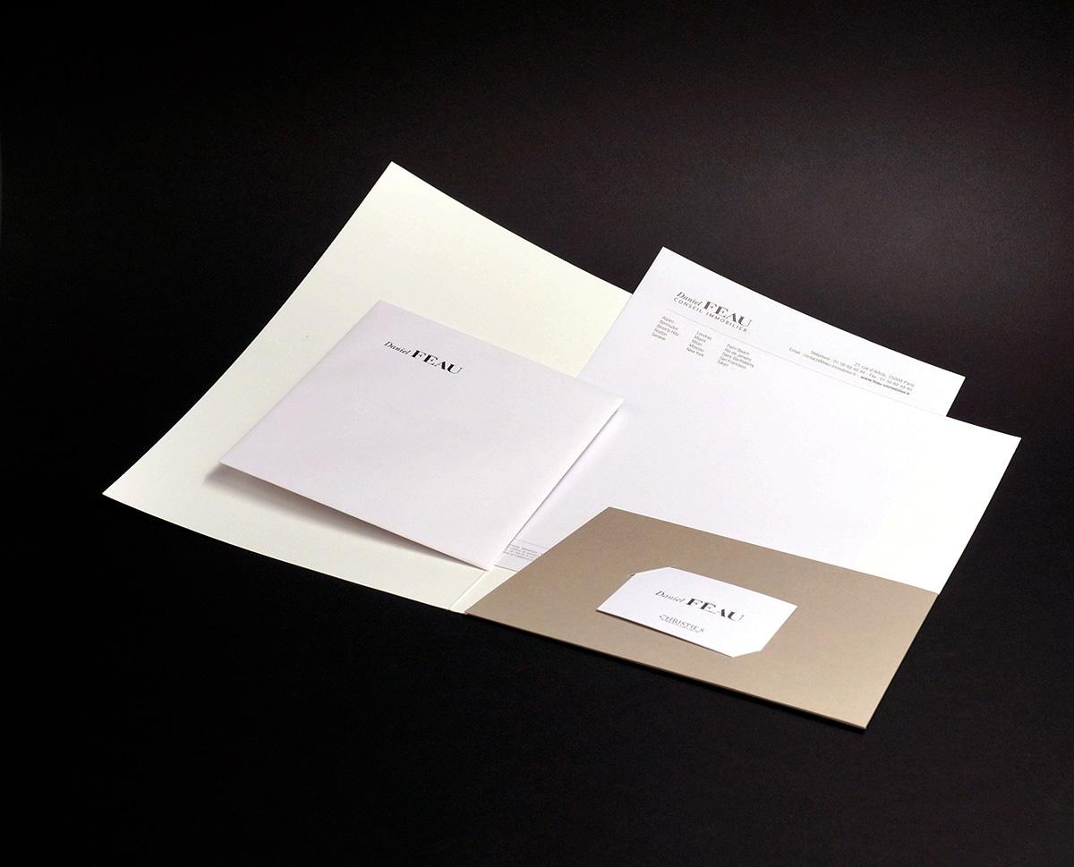 Féau – papeterie – enveloppe – carte de visite – papier en tête – pochette – studio octopus